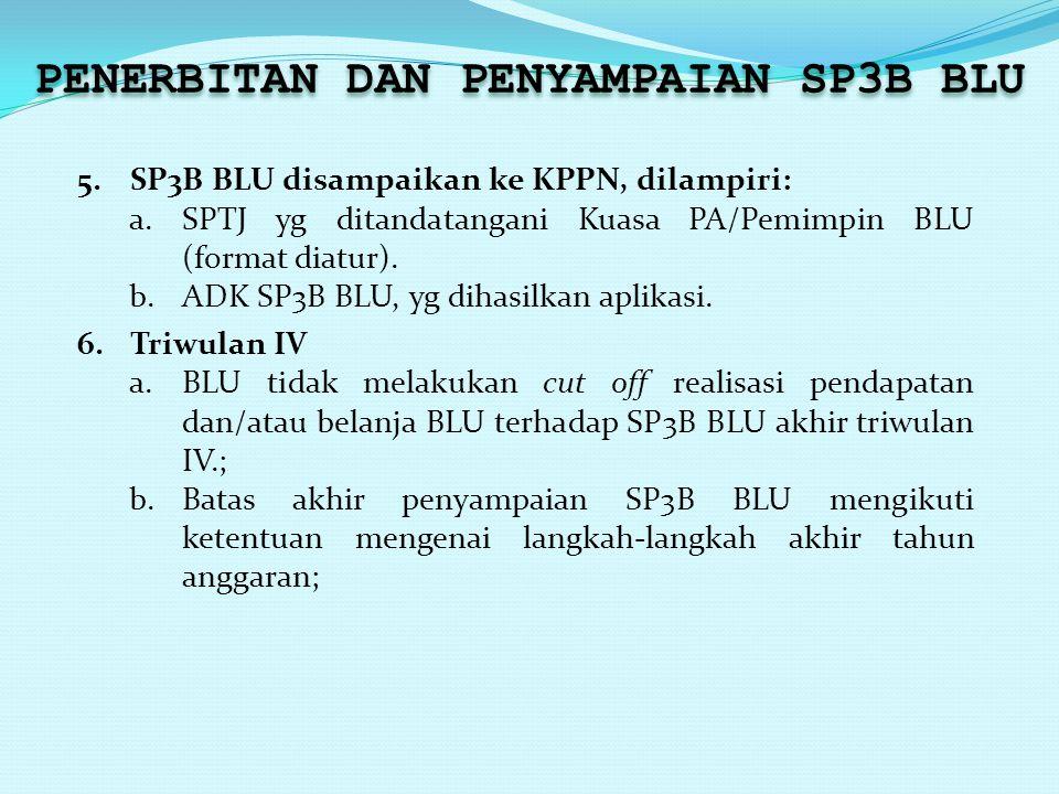 PENERBITAN DAN PENYAMPAIAN SP3B BLU 5.SP3B BLU disampaikan ke KPPN, dilampiri: a.SPTJ yg ditandatangani Kuasa PA/Pemimpin BLU (format diatur). b.ADK S