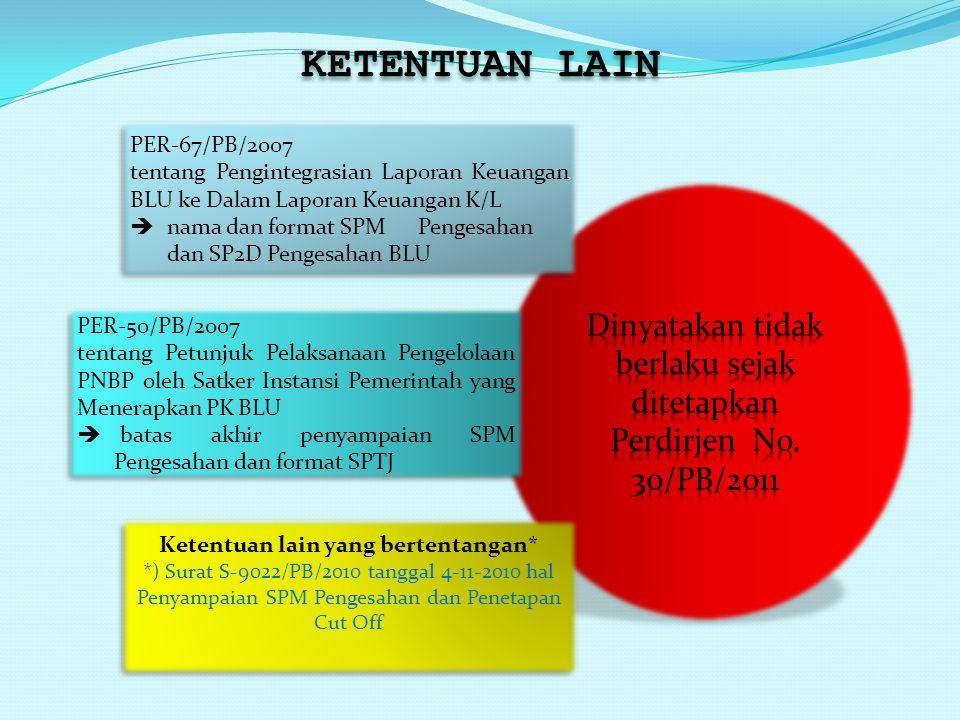 KETENTUAN LAIN PER-67/PB/2007 tentang Pengintegrasian Laporan Keuangan BLU ke Dalam Laporan Keuangan K/L  nama dan format SPM Pengesahan dan SP2D Pen