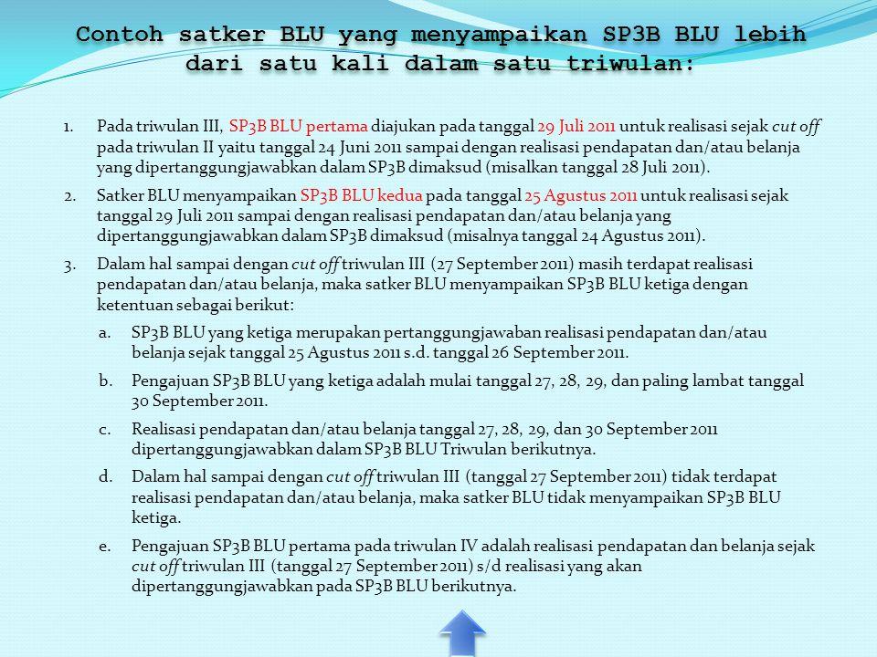 Contoh satker BLU yang menyampaikan SP3B BLU lebih dari satu kali dalam satu triwulan: 1.Pada triwulan III, SP3B BLU pertama diajukan pada tanggal 29