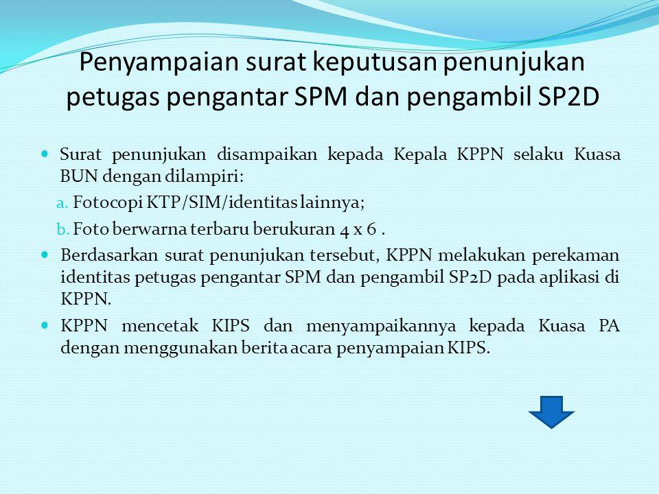 Penyampaian surat keputusan penunjukan petugas pengantar SPM dan pengambil SP2D Surat penunjukan disampaikan kepada Kepala KPPN selaku Kuasa BUN denga