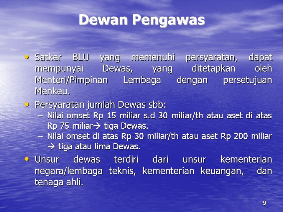 9 Dewan Pengawas Satker BLU yang memenuhi persyaratan, dapat mempunyai Dewas, yang ditetapkan oleh Menteri/Pimpinan Lembaga dengan persetujuan Menkeu.