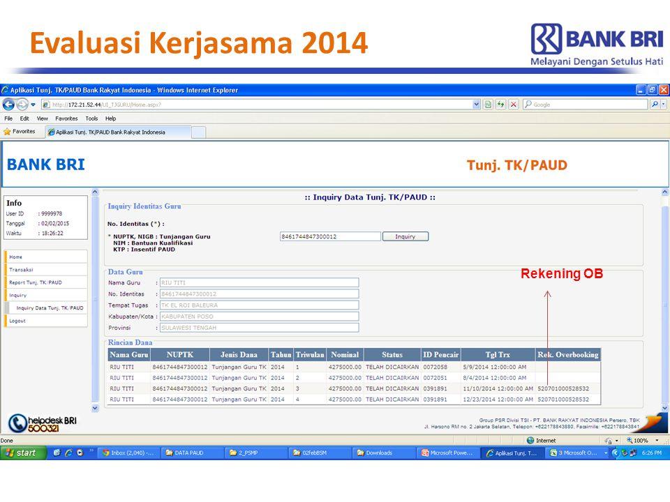 Evaluasi Kerjasama 2014 Rekening OB