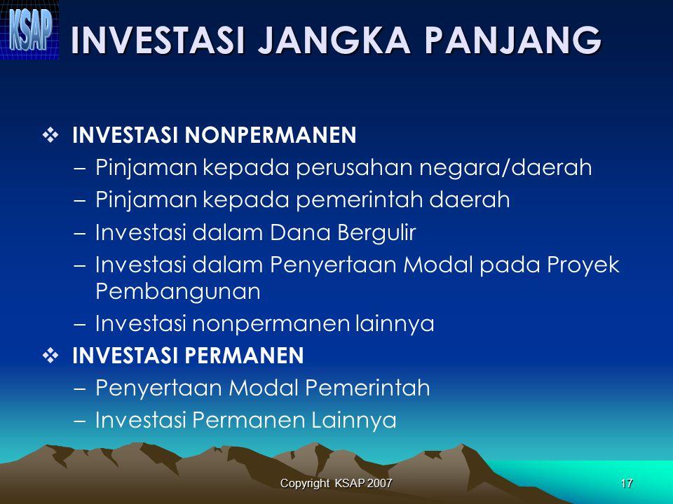 Copyright KSAP 200716 INVESTASI JANGKA PENDEK Jurnal untuk mencatat saldo awal : Investasi Jangka Pendek – DepositoXXX Investasi Jangka Pendek – Oblig
