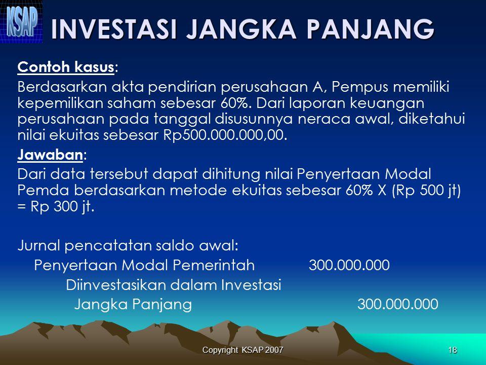 Copyright KSAP 200717 INVESTASI JANGKA PANJANG  INVESTASI NONPERMANEN –Pinjaman kepada perusahan negara/daerah –Pinjaman kepada pemerintah daerah –In