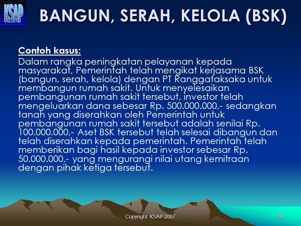 Copyright KSAP 200735 BSK dicatat sebesar nilai perolehan aset yang dibangun yaitu sebesar nilai aset yang diserahkan pemerintah ditambah dengan jumla