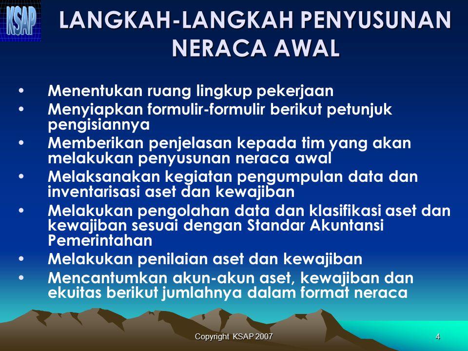 Copyright KSAP 20073 NERACA AWAL Neraca yang disusun pertama kali oleh pemerintah yang menunjukkan jumlah- jumlah aset, kewajiban, dan ekuitas dana pa