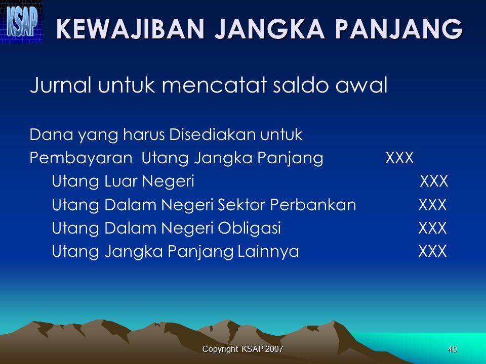 Copyright KSAP 200739 KEWAJIBAN JANGKA PENDEK Jurnal untuk mencatat saldo awal Dana yang harus Disediakan untuk Pembayaran Utang Jangka Pendek XXX Bag