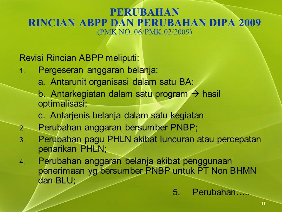11 PERUBAHAN RINCIAN ABPP DAN PERUBAHAN DIPA 2009 (PMK NO. 06/PMK.02/2009) Revisi Rincian ABPP meliputi: 1. Pergeseran anggaran belanja: a. Antarunit