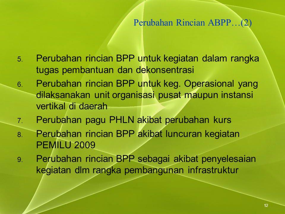 12 Perubahan Rincian ABPP…(2) 5. Perubahan rincian BPP untuk kegiatan dalam rangka tugas pembantuan dan dekonsentrasi 6. Perubahan rincian BPP untuk k
