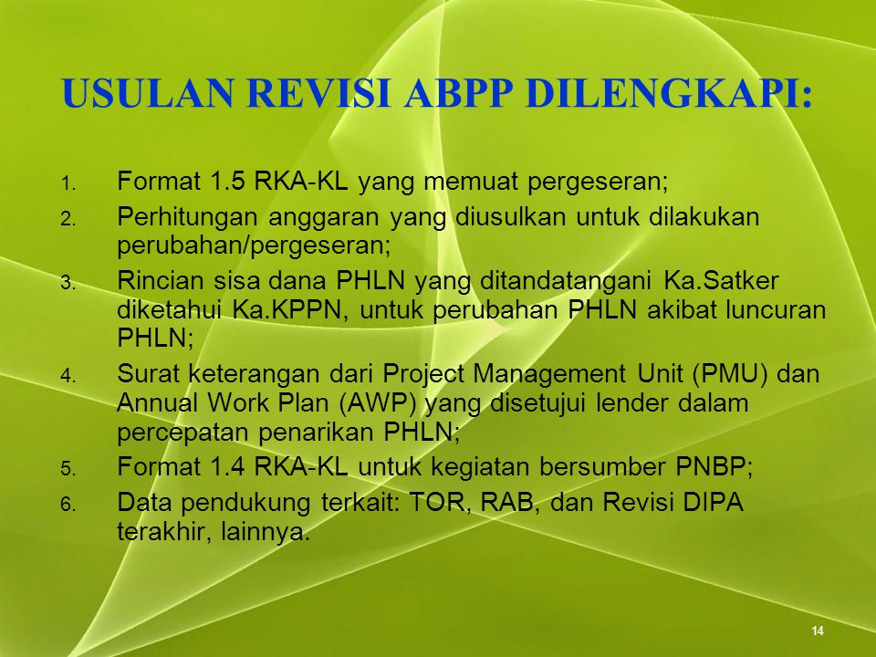 14 USULAN REVISI ABPP DILENGKAPI: 1. Format 1.5 RKA-KL yang memuat pergeseran; 2. Perhitungan anggaran yang diusulkan untuk dilakukan perubahan/perges