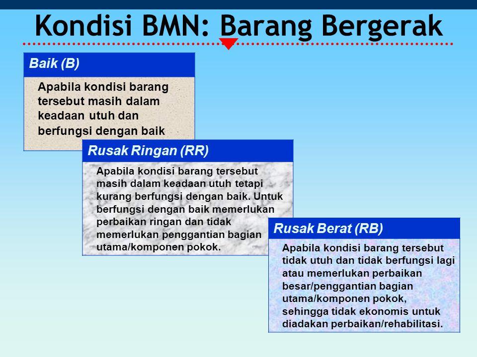 Kondisi BMN: Barang Bergerak Baik (B) Apabila kondisi barang tersebut masih dalam keadaan utuh dan berfungsi dengan baik Rusak Ringan (RR) Apabila kondisi barang tersebut masih dalam keadaan utuh tetapi kurang berfungsi dengan baik.