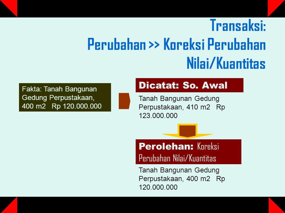Transaksi: Perubahan >> Koreksi Perubahan Nilai/Kuantitas Dicatat: So.