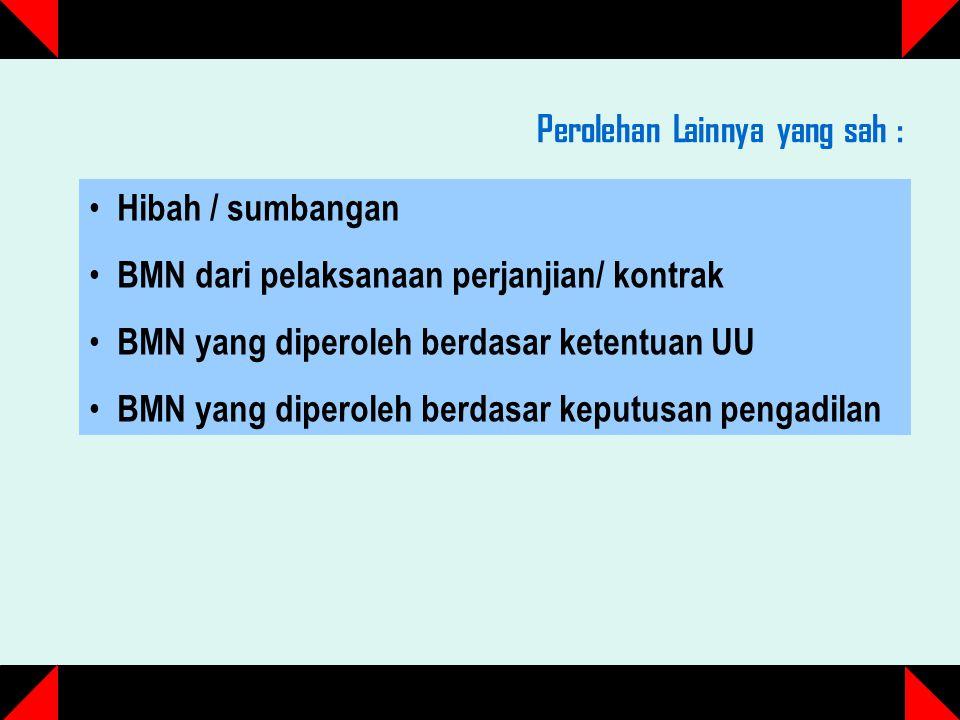 Perolehan Lainnya yang sah : Hibah / sumbangan BMN dari pelaksanaan perjanjian/ kontrak BMN yang diperoleh berdasar ketentuan UU BMN yang diperoleh berdasar keputusan pengadilan