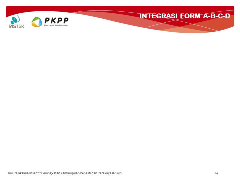 INTEGRASI FORM A-B-C-D Tim Pelaksana Insentif Peningkatan Kemampuan Peneliti dan Perekayasa 2012 14