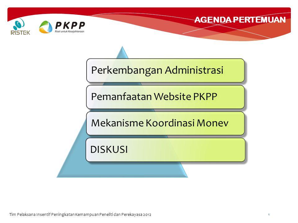 RENCANA TINDAK LANJUT Tim Pelaksana Insentif Peningkatan Kemampuan Peneliti dan Perekayasa 2012 12 1.Perubahan Paket (:lokus, nama peneliti) 2.Koordinasi dengan Penanggung Jawab KE 3.Koordinasi Paket Non KE 4.Monitoring Internal K-L 5.Pengumpulan Form B 6.Update Informasi Kegiatan pada website PKPP