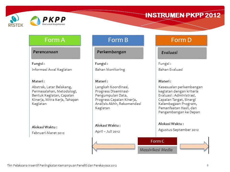 INSTRUMEN PKPP 2012 Tim Pelaksana Insentif Peningkatan Kemampuan Peneliti dan Perekayasa 2012 8 Fungsi : Informasi Awal Kegiatan Materi : Abstrak, Lat