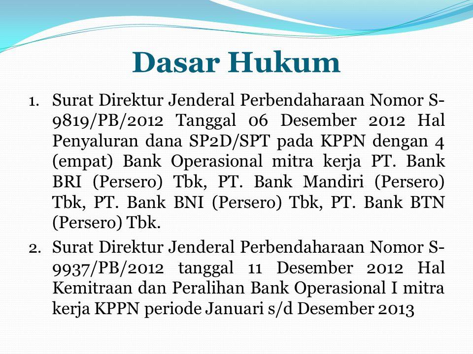 Dasar Hukum 1. Surat Direktur Jenderal Perbendaharaan Nomor S- 9819/PB/2012 Tanggal 06 Desember 2012 Hal Penyaluran dana SP2D/SPT pada KPPN dengan 4 (