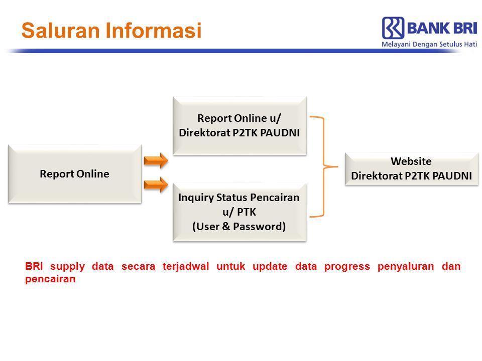 Report Online Report Online u/ Direktorat P2TK PAUDNI Inquiry Status Pencairan u/ PTK (User & Password) Inquiry Status Pencairan u/ PTK (User & Passwo