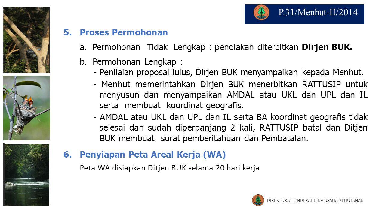 5.Proses Permohonan a. Permohonan Tidak Lengkap : penolakan diterbitkan Dirjen BUK. b. Permohonan Lengkap : - Penilaian proposal lulus, Dirjen BUK men