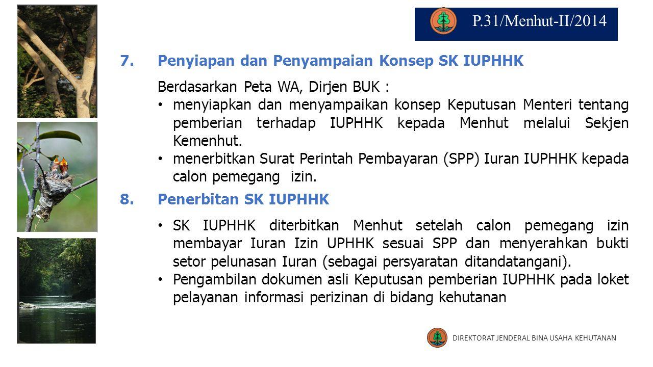 7.7.Penyiapan dan Penyampaian Konsep SK IUPHHK Berdasarkan Peta WA, Dirjen BUK : menyiapkan dan menyampaikan konsep Keputusan Menteri tentang pemberia