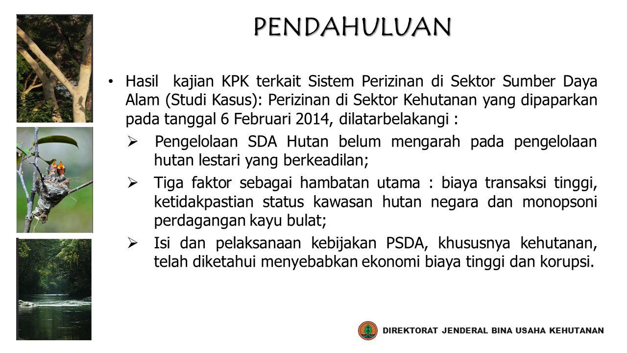 Tujuan Kajian  Memetakan permasalahan regulasi dan kebijakan pengelolaan sumberdaya alam di Indonesia khususnya terkait sistem perizinan di sektor kehutanan, kawasan hutan dan perdagangan kayu bulat;  Memetakan titik-titik rentan korupsi dalam proses pemberian izin kehutanan dan mengidentifikasi akar masalahnya;  Membangun agenda perbaikan kebijakan dalam koordinasi pelaksanaan NKB-KPK-UKP4.
