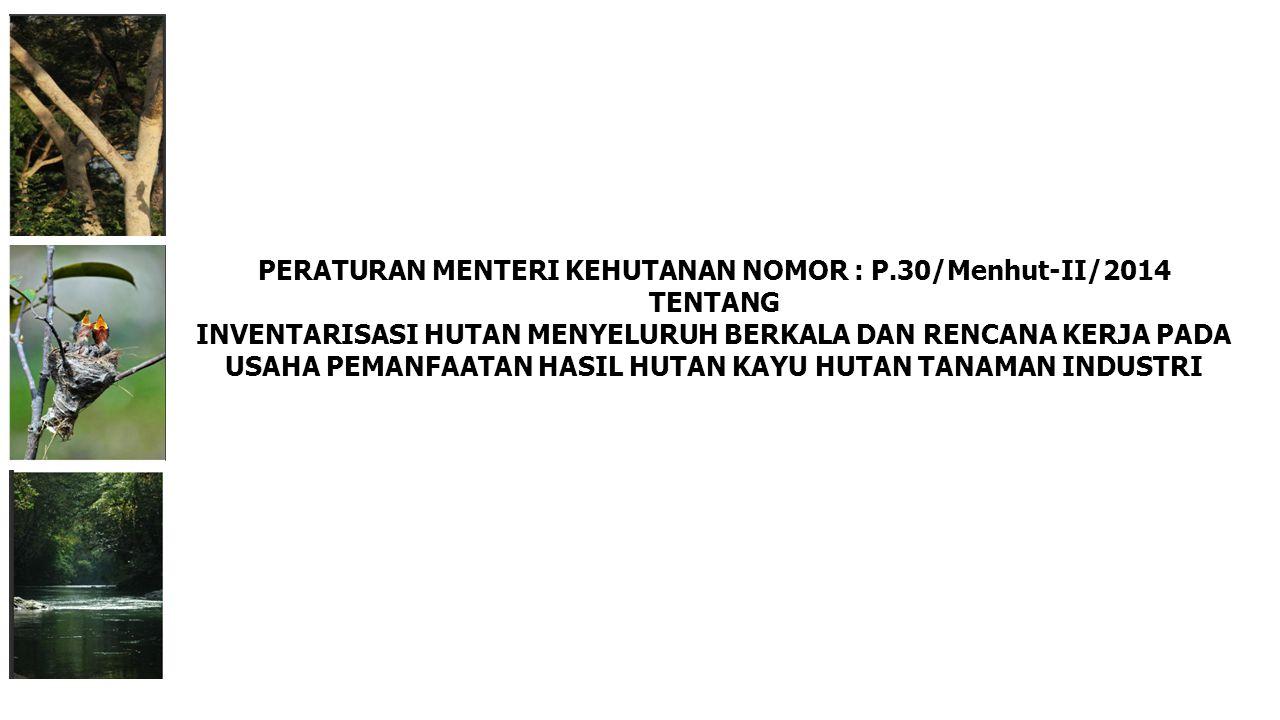 PERATURAN MENTERI KEHUTANAN NOMOR : P.30/Menhut-II/2014 TENTANG INVENTARISASI HUTAN MENYELURUH BERKALA DAN RENCANA KERJA PADA USAHA PEMANFAATAN HASIL