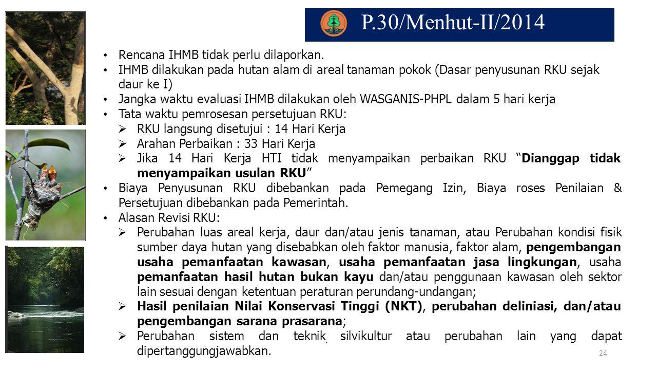 P.30/Menhut-II/2014. Rencana IHMB tidak perlu dilaporkan. IHMB dilakukan pada hutan alam di areal tanaman pokok (Dasar penyusunan RKU sejak daur ke I)