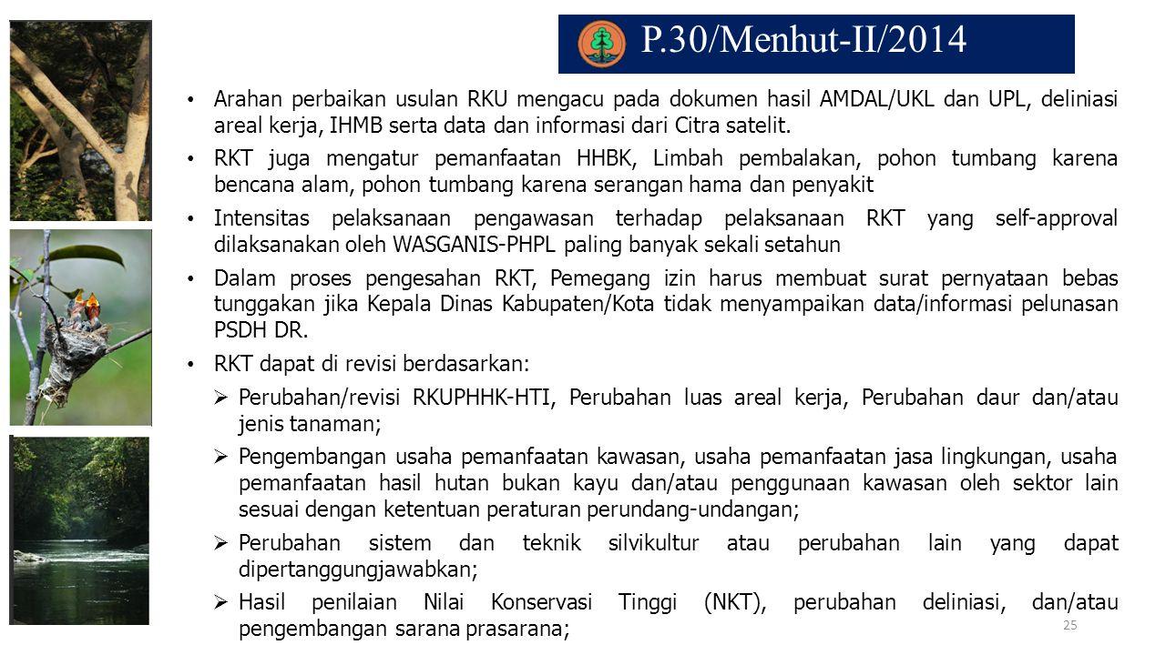 P.30/Menhut-II/2014. Arahan perbaikan usulan RKU mengacu pada dokumen hasil AMDAL/UKL dan UPL, deliniasi areal kerja, IHMB serta data dan informasi da