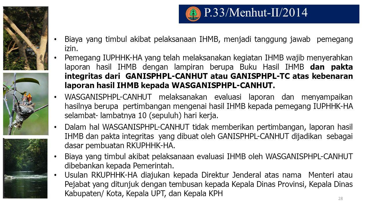 P.33/Menhut-II/2014. Biaya yang timbul akibat pelaksanaan IHMB, menjadi tanggung jawab pemegang izin. Pemegang IUPHHK-HA yang telah melaksanakan kegia