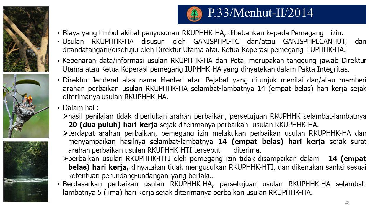 P.33/Menhut-II/2014. Biaya yang timbul akibat penyusunan RKUPHHK-HA, dibebankan kepada Pemegang izin. Usulan RKUPHHK-HA disusun oleh GANISPHPL-TC dan/