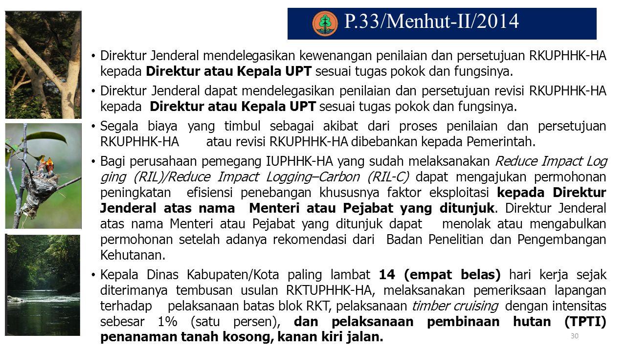 P.33/Menhut-II/2014. Direktur Jenderal mendelegasikan kewenangan penilaian dan persetujuan RKUPHHK-HA kepada Direktur atau Kepala UPT sesuai tugas pok