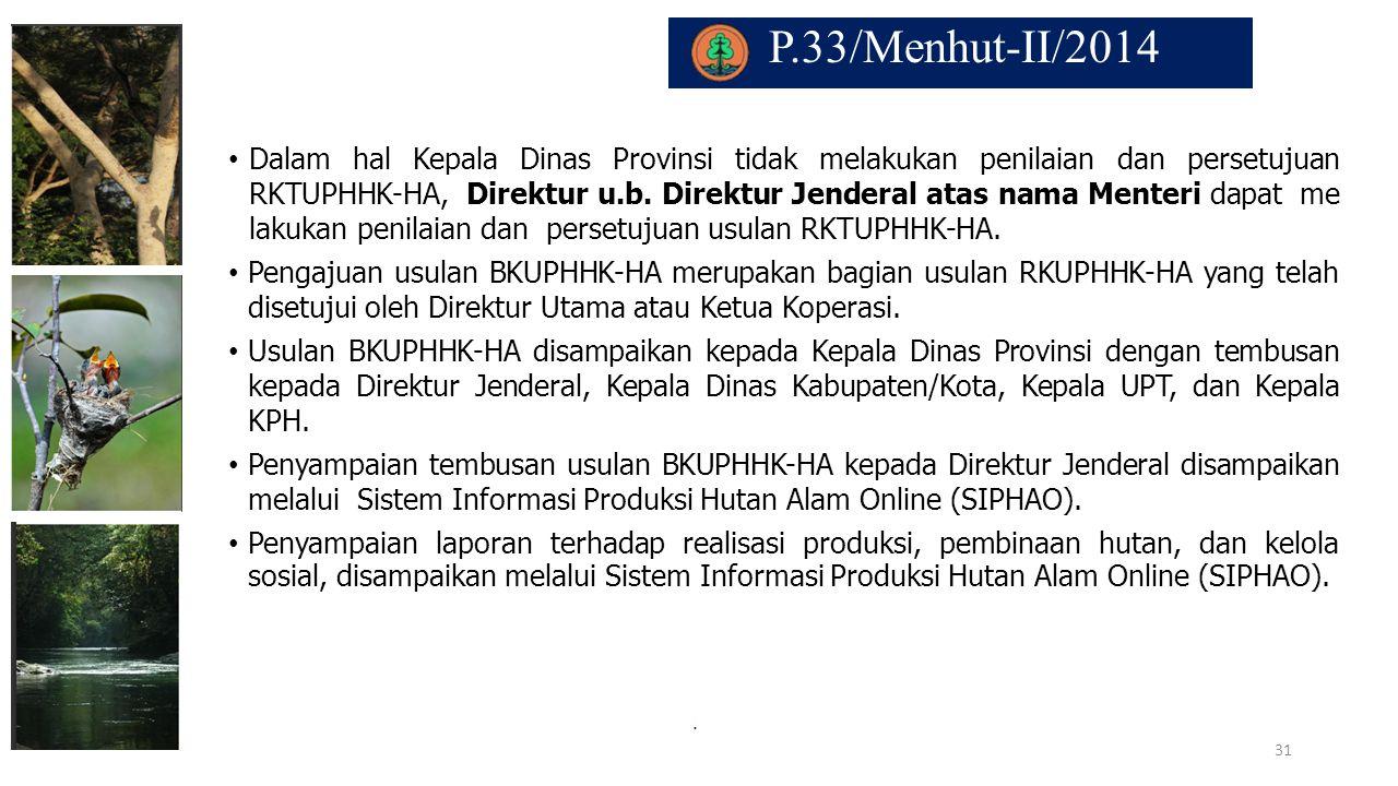 P.33/Menhut-II/2014. Dalam hal Kepala Dinas Provinsi tidak melakukan penilaian dan persetujuan RKTUPHHK-HA, Direktur u.b. Direktur Jenderal atas nama