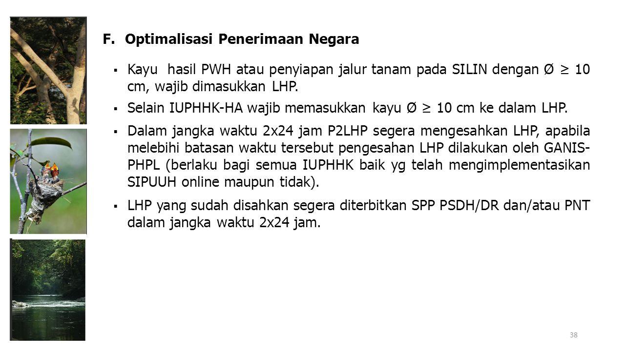  Kayu hasil PWH atau penyiapan jalur tanam pada SILIN dengan Ø ≥ 10 cm, wajib dimasukkan LHP.  Selain IUPHHK-HA wajib memasukkan kayu Ø ≥ 10 cm ke d