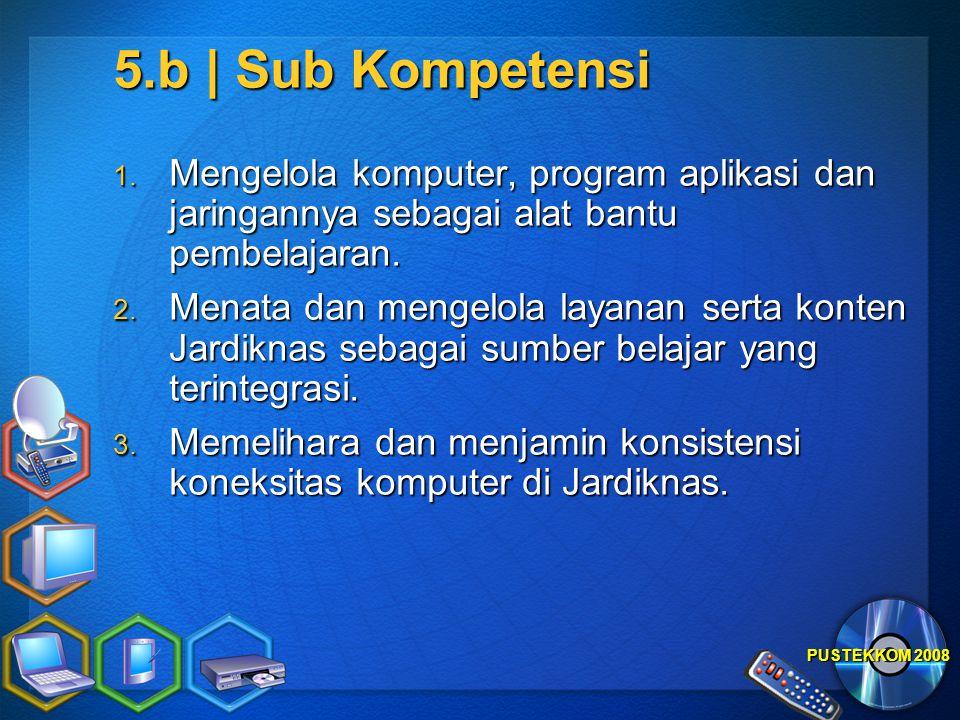 PUSTEKKOM 2008 5.b | Sub Kompetensi 1. Mengelola komputer, program aplikasi dan jaringannya sebagai alat bantu pembelajaran. 2. Menata dan mengelola l