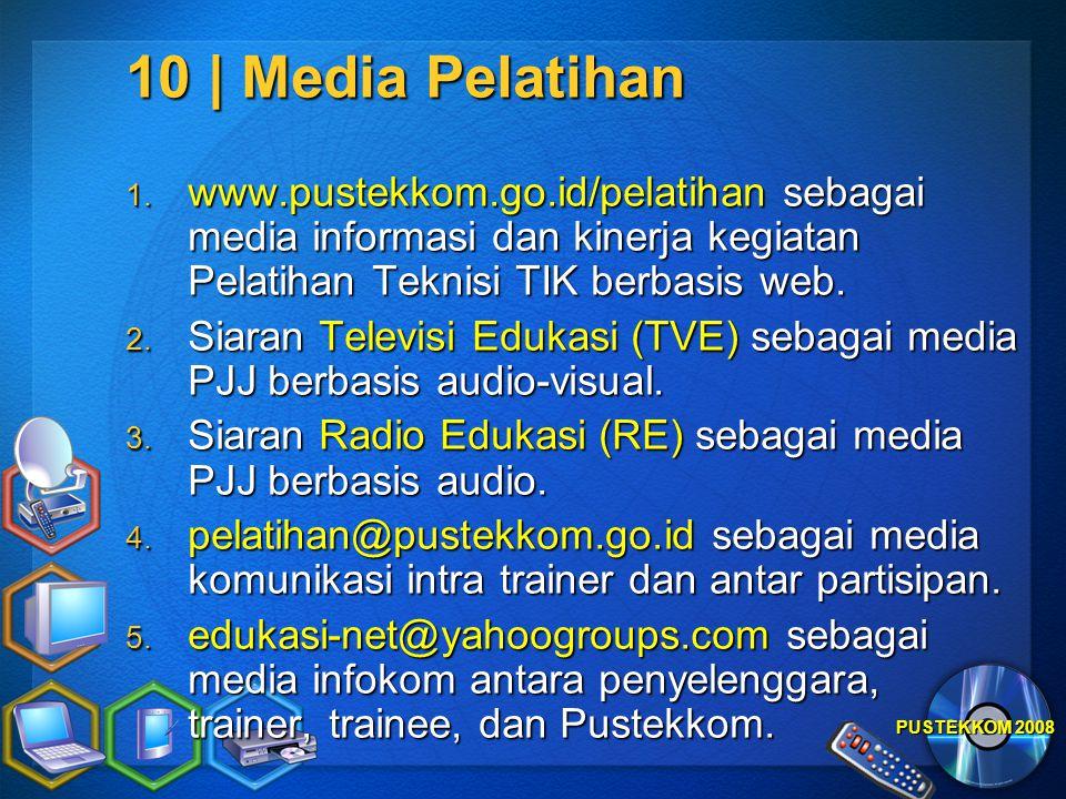 PUSTEKKOM 2008 10 | Media Pelatihan 1. www.pustekkom.go.id/pelatihan sebagai media informasi dan kinerja kegiatan Pelatihan Teknisi TIK berbasis web.