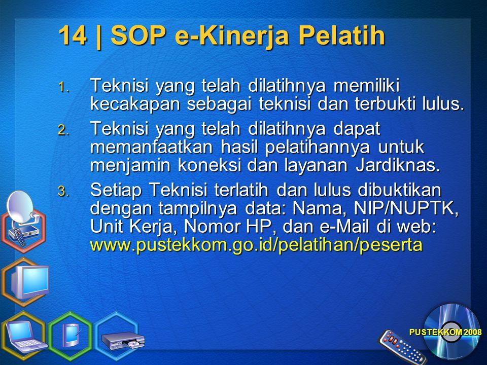 PUSTEKKOM 2008 14 | SOP e-Kinerja Pelatih 1. Teknisi yang telah dilatihnya memiliki kecakapan sebagai teknisi dan terbukti lulus. 2. Teknisi yang tela