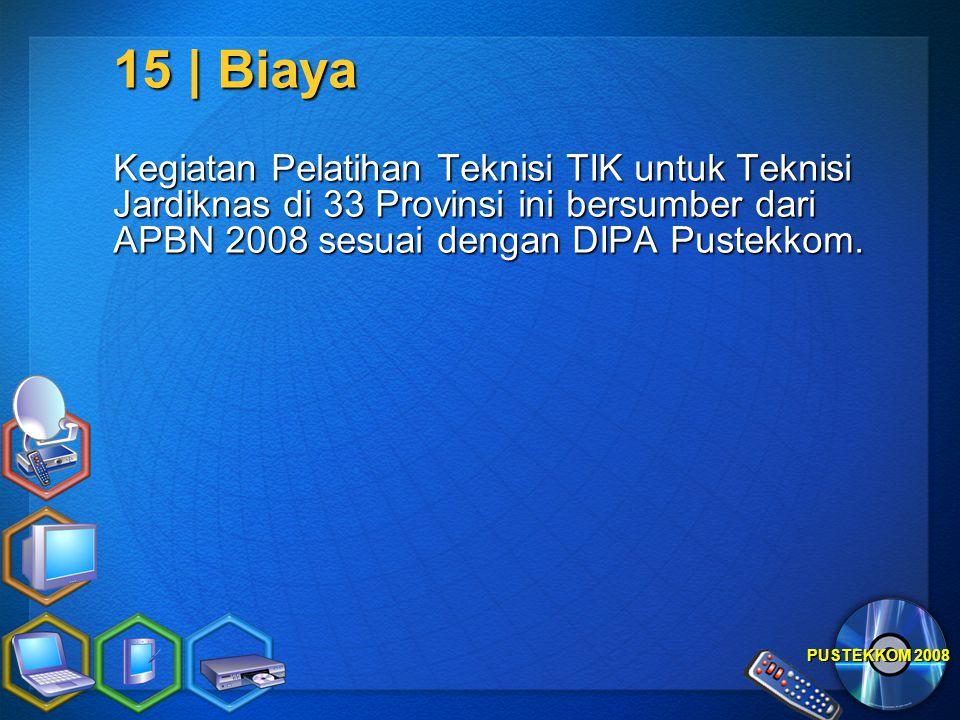 PUSTEKKOM 2008 15 | Biaya Kegiatan Pelatihan Teknisi TIK untuk Teknisi Jardiknas di 33 Provinsi ini bersumber dari APBN 2008 sesuai dengan DIPA Pustek