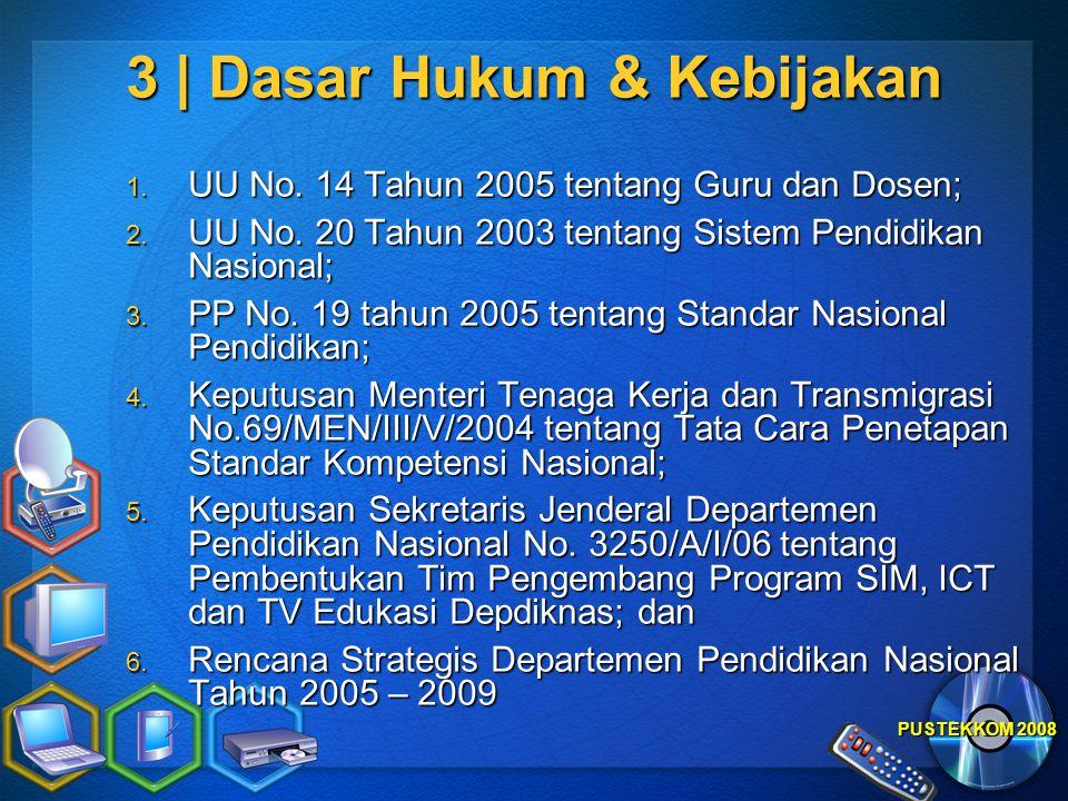PUSTEKKOM 2008 3 | Dasar Hukum & Kebijakan 1. UU No. 14 Tahun 2005 tentang Guru dan Dosen; 2. UU No. 20 Tahun 2003 tentang Sistem Pendidikan Nasional;