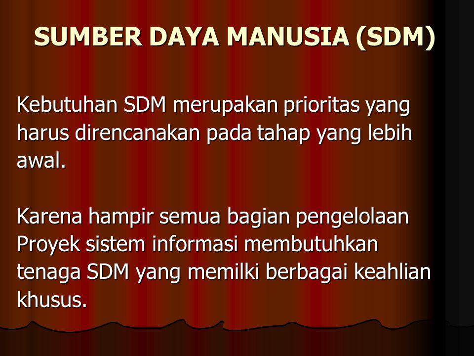 SUMBER DAYA MANUSIA (SDM) Kebutuhan SDM merupakan prioritas yang harus direncanakan pada tahap yang lebih awal.