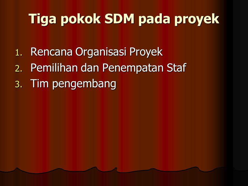 Tiga pokok SDM pada proyek 1. Rencana Organisasi Proyek 2.