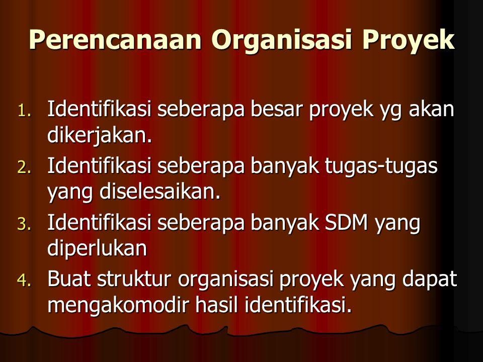 Perencanaan Organisasi Proyek 1. Identifikasi seberapa besar proyek yg akan dikerjakan.