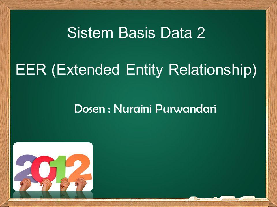 Sistem Basis Data 2 EER (Extended Entity Relationship) Dosen : Nuraini Purwandari