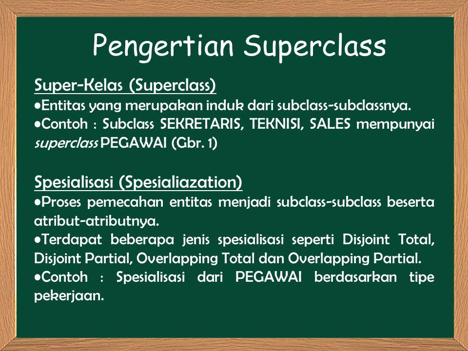 Pengertian Superclass Super-Kelas (Superclass) Entitas yang merupakan induk dari subclass-subclassnya. Contoh : Subclass SEKRETARIS, TEKNISI, SALES me