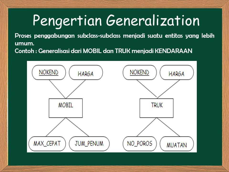 Pengertian Generalization Proses penggabungan subclass-subclass menjadi suatu entitas yang lebih umum. Contoh : Generalisasi dari MOBIL dan TRUK menja