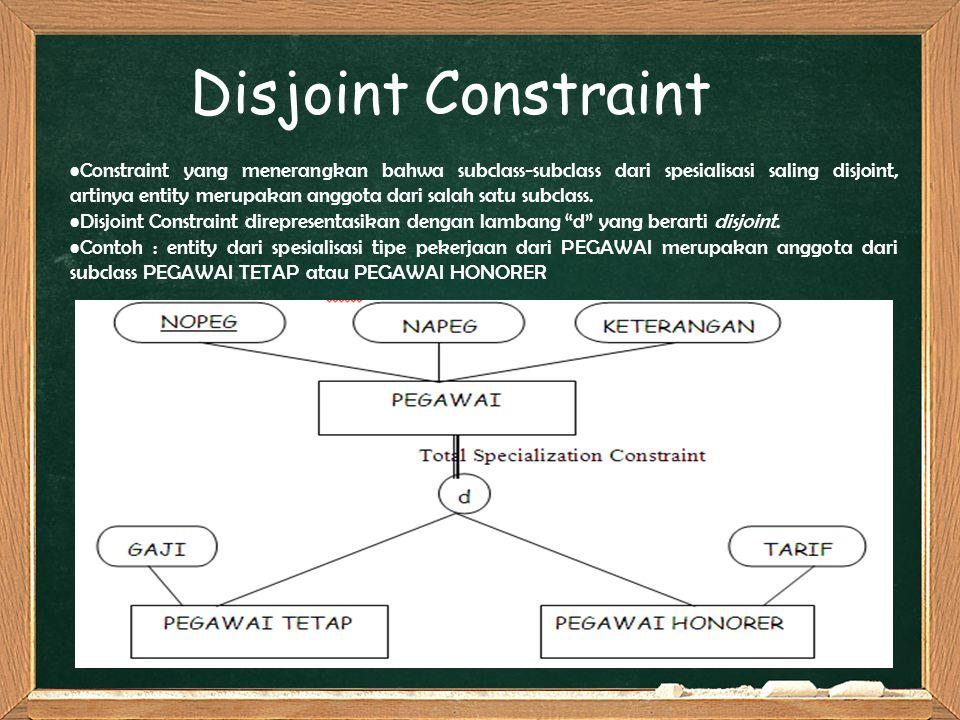 Constraint yang menerangkan bahwa subclass-subclass dari spesialisasi saling disjoint, artinya entity merupakan anggota dari salah satu subclass. Disj