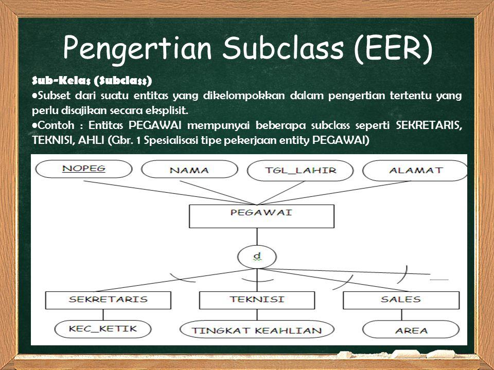 Pengertian Subclass (EER) Sub-Kelas (Subclass) Subset dari suatu entitas yang dikelompokkan dalam pengertian tertentu yang perlu disajikan secara eksp