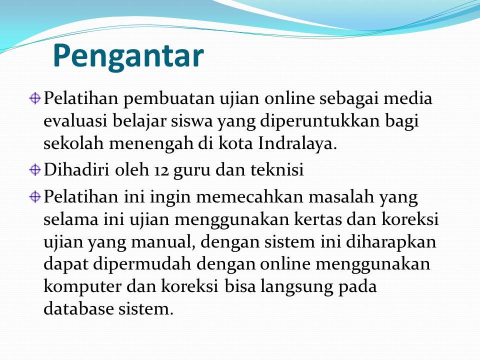 Pengantar Pelatihan pembuatan ujian online sebagai media evaluasi belajar siswa yang diperuntukkan bagi sekolah menengah di kota Indralaya. Dihadiri o