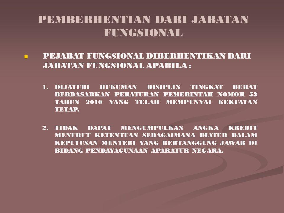 PEMBERHENTIAN DARI JABATAN FUNGSIONAL PEJABAT FUNGSIONAL DIBERHENTIKAN DARI JABATAN FUNGSIONAL APABILA : 1.DIJATUHI HUKUMAN DISIPLIN TINGKAT BERAT BERDASARKAN PERATURAN PEMERINTAH NOMOR 53 TAHUN 2010 YANG TELAH MEMPUNYAI KEKUATAN TETAP.