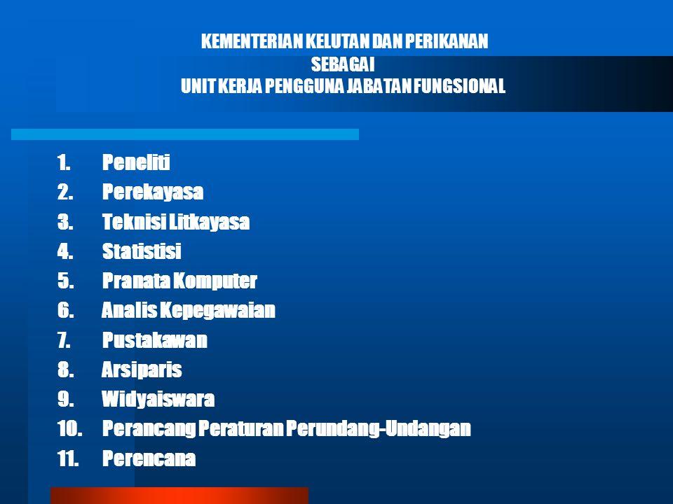 KEMENTERIAN KELUTAN DAN PERIKANAN SEBAGAI UNIT KERJA PENGGUNA JABATAN FUNGSIONAL 1.Peneliti 2.Perekayasa 3.