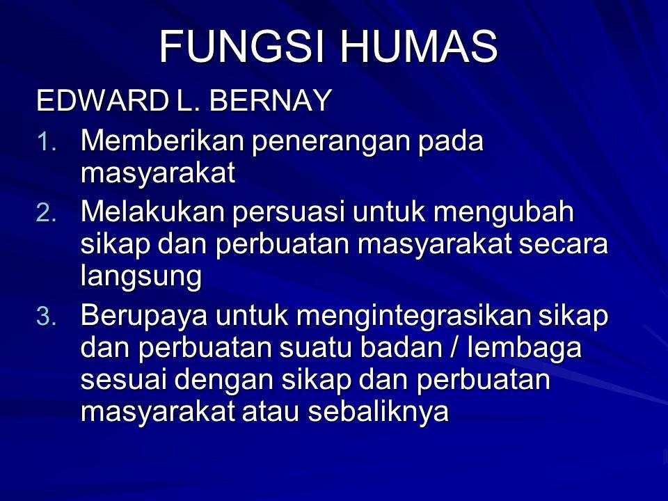 FUNGSI HUMAS EDWARD L. BERNAY 1. Memberikan penerangan pada masyarakat 2. Melakukan persuasi untuk mengubah sikap dan perbuatan masyarakat secara lang